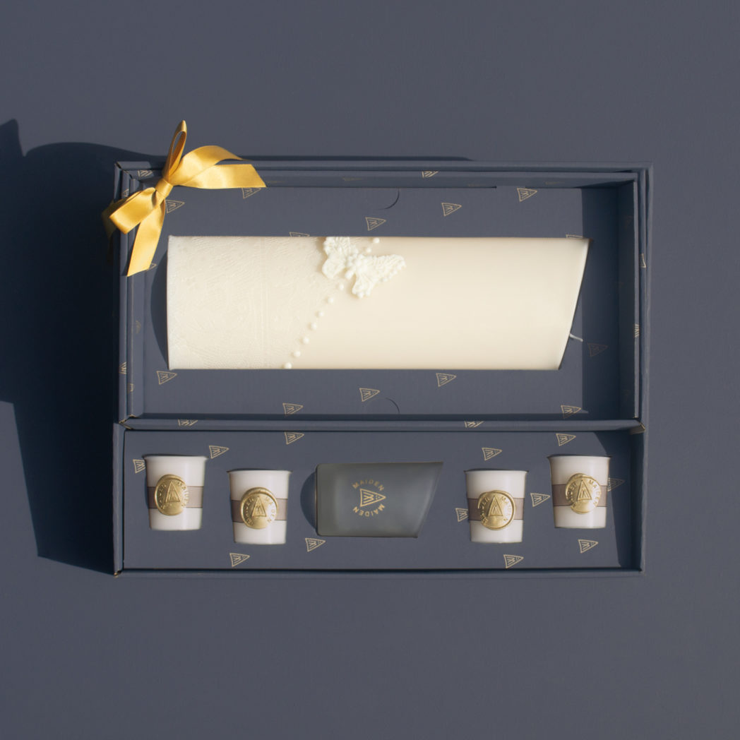 butterfly lace curve candle in gift set with gold bow votive glass and votive candles decorative with gold wax seal